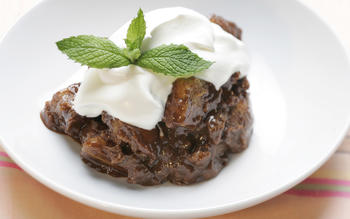 Warm chocolate bread pudding