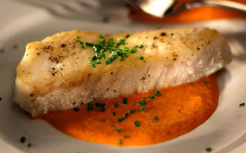 Pan-fried fish fillet with rouille