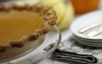 Pumpkin pie with bacon and bourbon crust