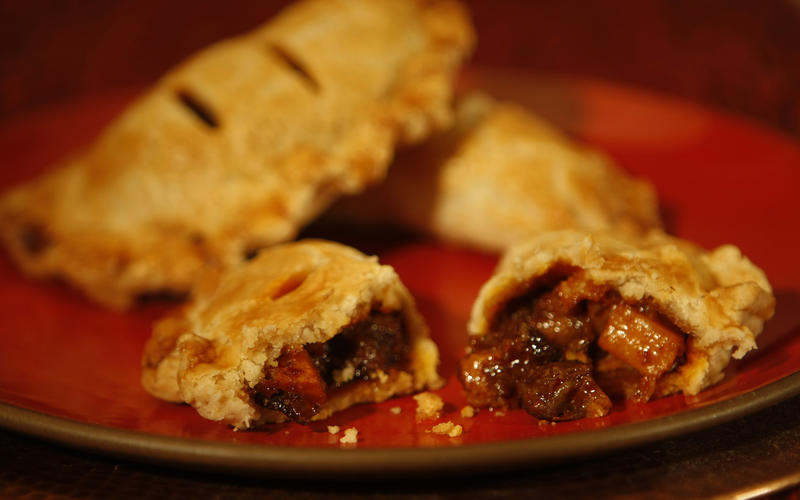 Curried lamb pasties with spicy sweet potato and tamarind