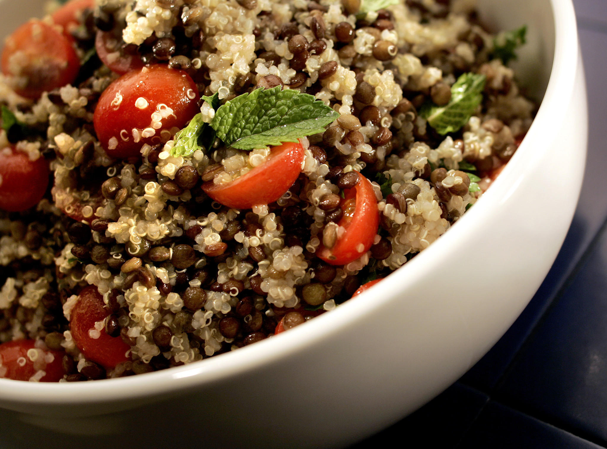 Quinoa lentil salad with tomatoes