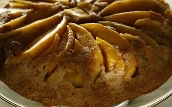 Mango coconut upside-down cake