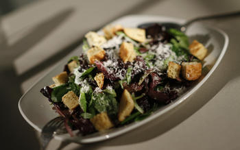 PizzaVino's Caesar salad with crunchy croutons