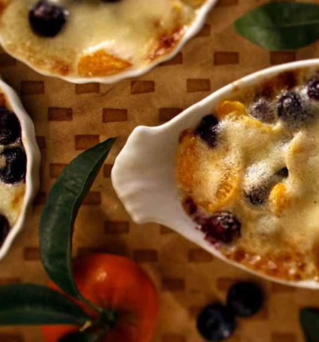Fresh fruit gratin