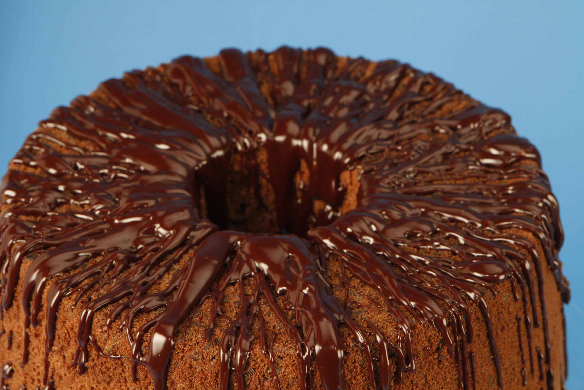 Chocolate chiffon cake with chocolate glaze
