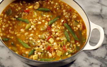 Squash and bean stew with merken
