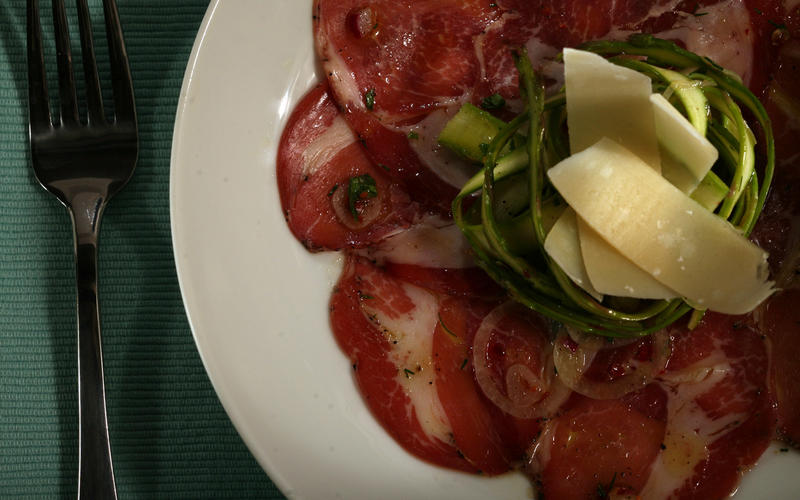 Shaved asparagus salad with coppa