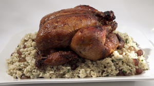 Marinated chicken stuffed with brown rice and grapes