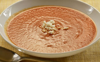 Elway's charred red pepper soup