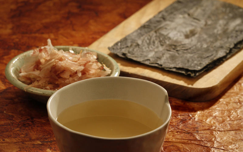 Bonito flakes and konbu seaweed dashi