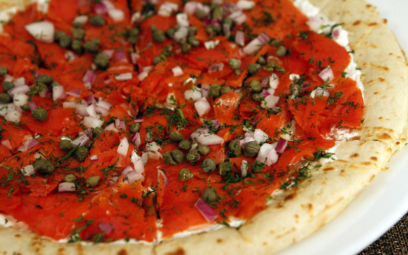 Morton's smoked salmon pizza