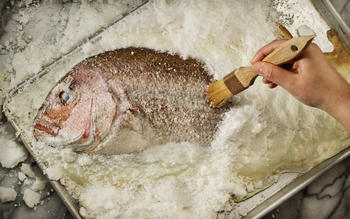 Salt-roasted sea bass