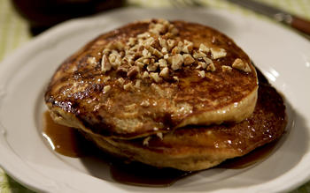 Highland Bakery's sweet potato pancakes with brown sugar butter sauce