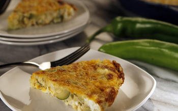 Green chile, corn and zucchini frittata
