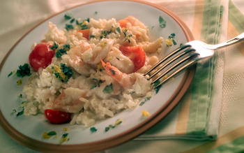 Risotto With Shrimp and Cherry Tomatoes
