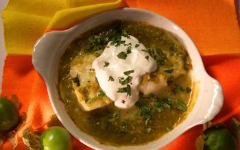Baked Chilean sea bass with tomatillo sauce