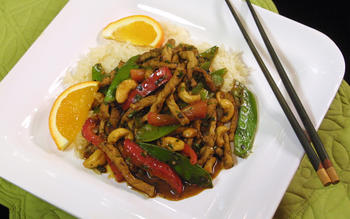 Tangerine-marinated pork with stir-fried vegetables