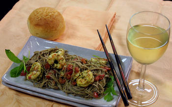 Mint and Cilantro Shrimp With Soba Noodles
