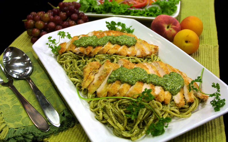 Crispy Chicken With Linguine and Fresh Herb Pesto