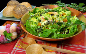 Shrimp and avocado salad with mango, chile and lime dressing