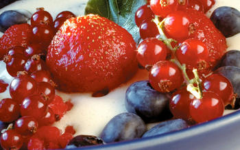Summer berries with bay leaf custard