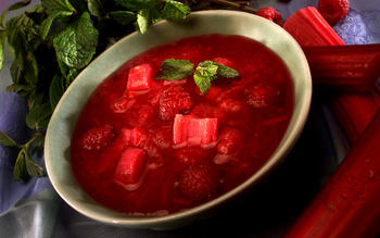 Stewed Rhubarb and Raspberries