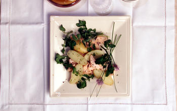 Poached Salmon and Potato Salad With Fresh Herb Sauce
