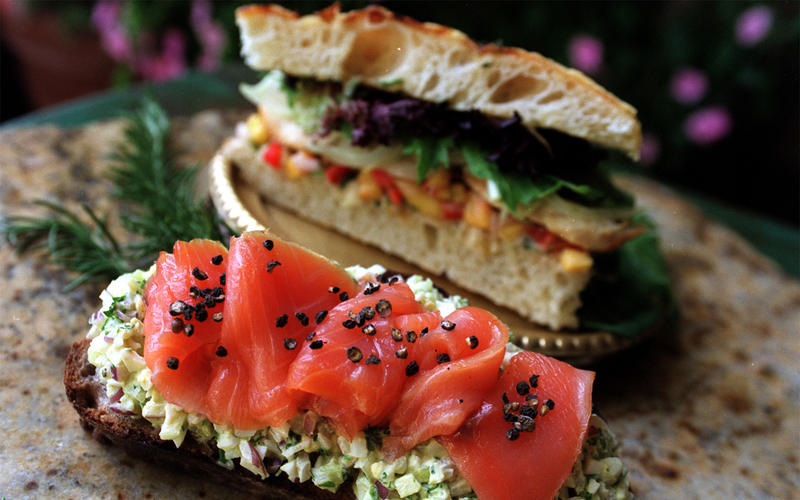 Open-Face Smoked Salmon and Egg Salad Sandwiches
