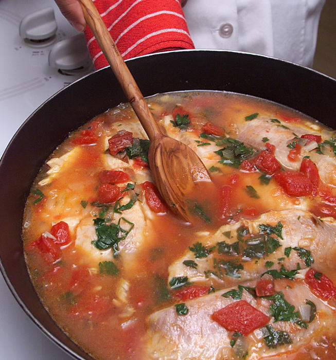 Tilapia in Wine and Tomatoes