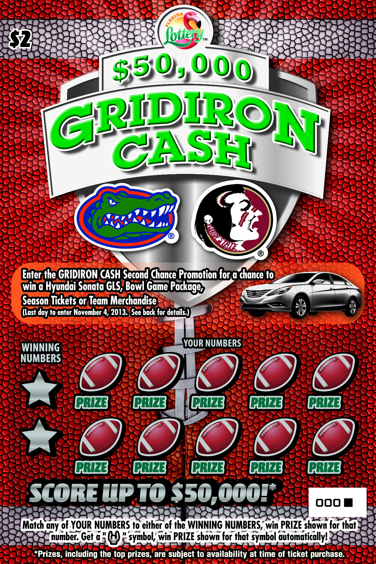 Scratch Off 92 Football Grounds Print: Florida Lottery Scratch-off Game