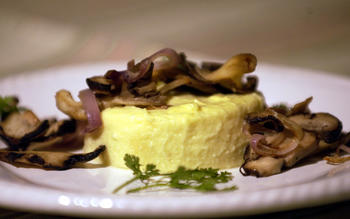 Parsnip flan with wild mushrooms and shallots