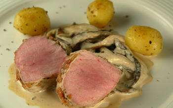 Poached Kurobuta tenderloin with pickled plum, shiitake mushrooms and potatoes