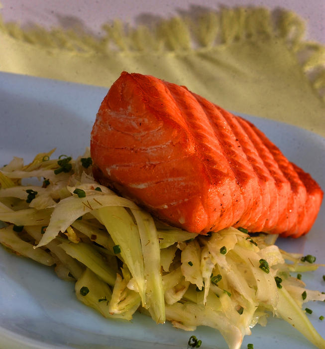 Grilled wild salmon with fennel slaw