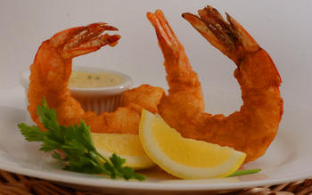 Vanilla fried shrimp with vanilla honey mustard