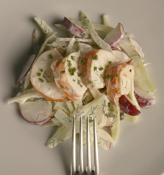 Lobster salad with fennel and radishes