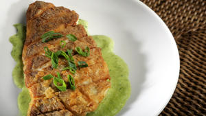 Jasper's half-crispy fish with green onion puree