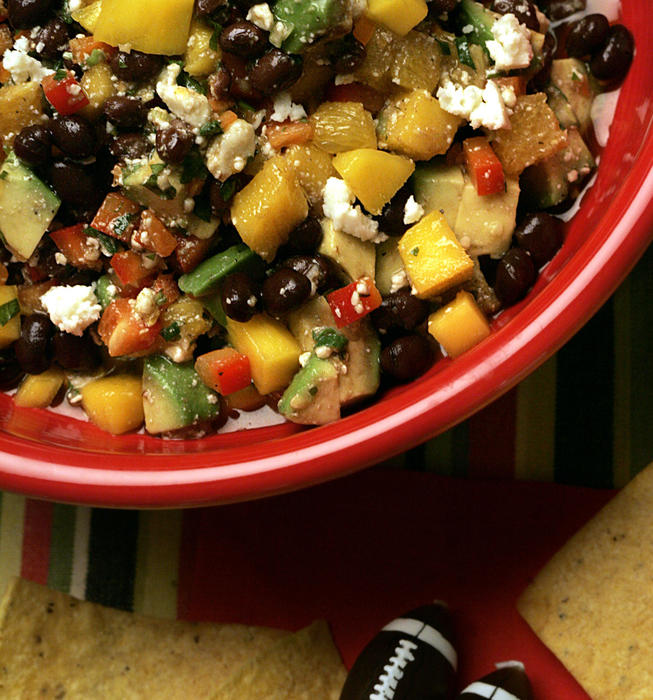 Black bean, tropical fruits and queso fresco salsa