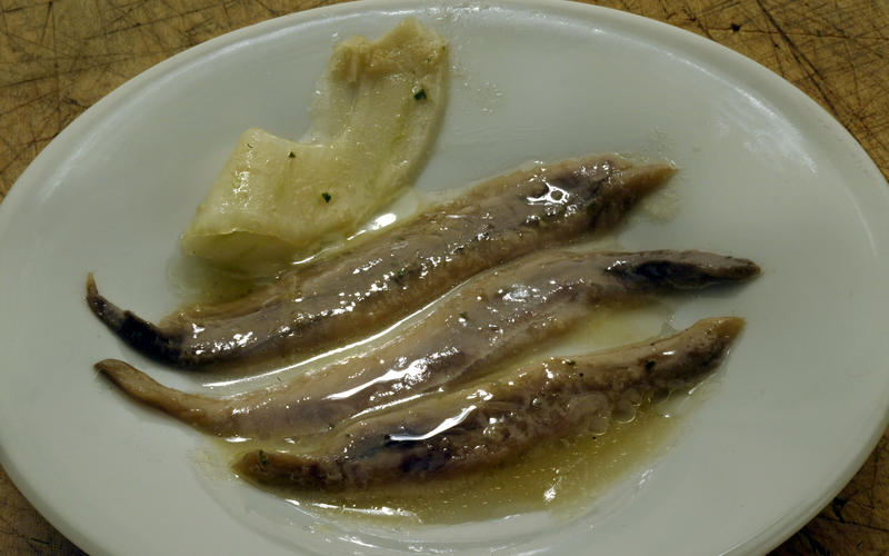 Sherry vinegar-cured anchovies