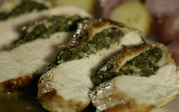 Sauteed chicken breasts stuffed with sorrel