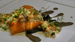 Slow-roasted arctic char with vegetable 'risotto'