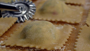 Beet green ravioli with sage butter