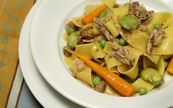 Braised rabbit pappardelle with spring vegetables