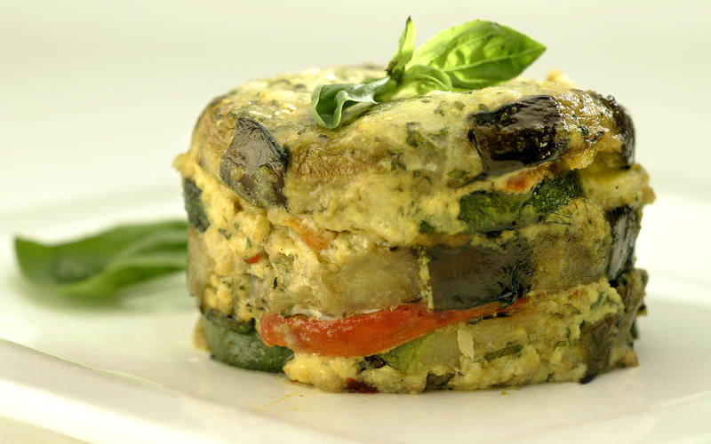 Zucchini-eggplant-pepper timbales
