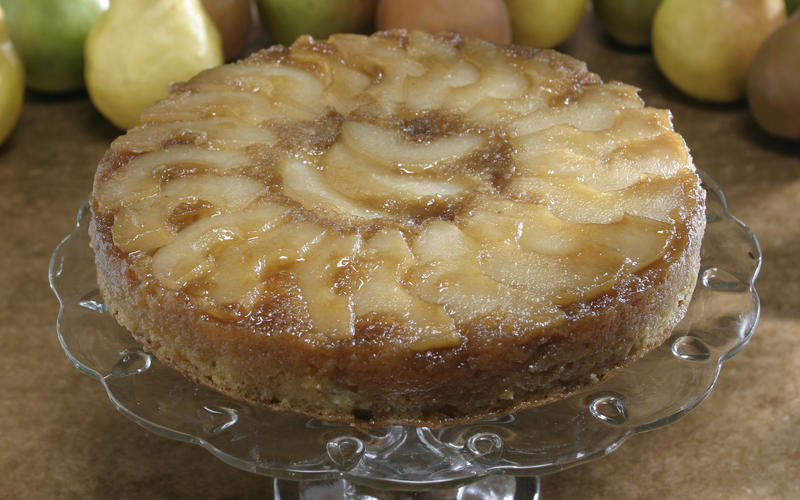 Pear and cardamom upside-down cake