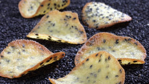 Black sesame tuiles with orange and honey