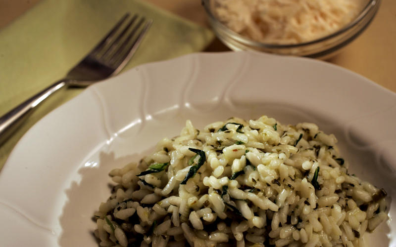 Risotto with spring herbs