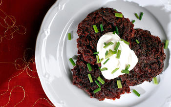 Fresh beet latkes with cumin and coriander
