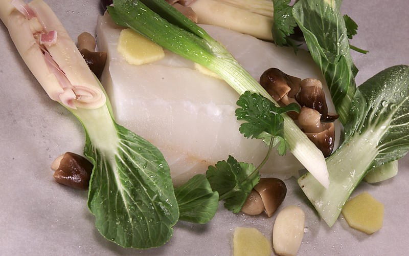 Oven-steamed fish with bok choy