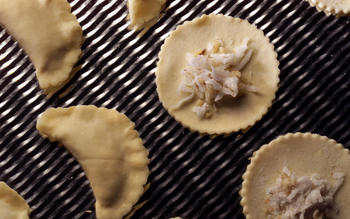 Flaky walnut coconut dumplings