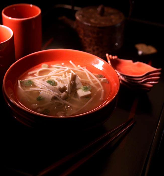 Miso Soup With Tofu and Enoki Mushrooms